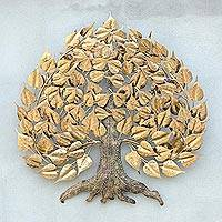 Gold foil and steel wall sculpture, 'Bodhi Tree - Gold Foil and Steel Bodhi Tree Wall Sculpture from Thailand
