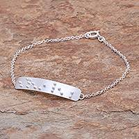 Sterling silver pendant bracelet, 'Braille Belief' - Belief-Themed Braille Sterling Silver Pendant Bracelet