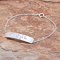 Sterling silver pendant bracelet, 'Braille Faith' - Faith-Themed Braille Sterling Silver Pendant Bracelet