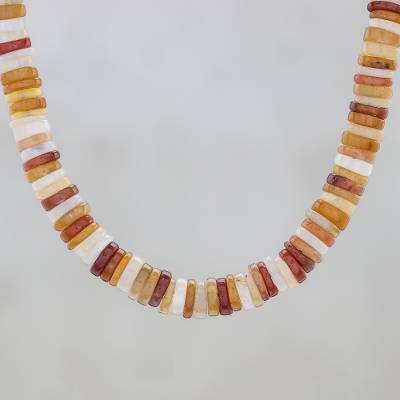 Jade beaded necklace, 'Elegant Stones in Brown' - Jade Beaded Necklace in Brown from Thailand