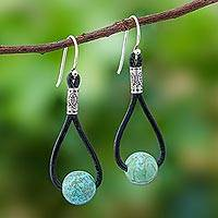 Howlite dangle earrings, 'Spring Passion' - Howlite and Karen Silver Dangle Earrings with Leather