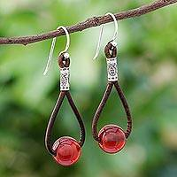 Carnelian dangle earrings, 'Spring Passion' - Carnelian and Karen Silver Dangle Earrings with Leather