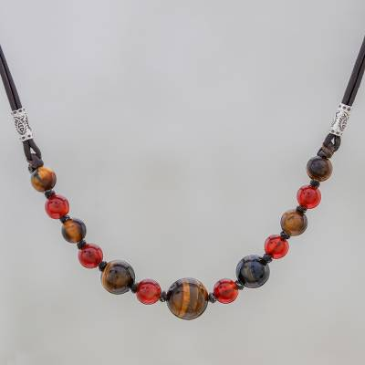 Tiger's eye and carnelian beaded necklace, 'Joyful Holiday' - Tiger's Eye and Carnelian Beaded Necklace with Karen Silver