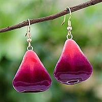 Natural flower dangle earrings, 'Petal Rain' - Natural Orchid Flower Dangle Earrings in Magenta