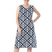 Sleeveless cotton shift, 'Cool Vacation' - Printed Cotton Sleeveless Shift in Navy and Off-White