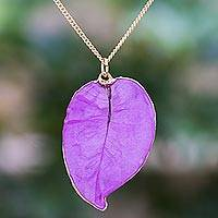Gold accented natural flower pendant necklace, 'Bougainvillea Love in Purple' - Gold Accented Natural Flower Pendant Necklace in Purple