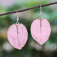 Gold accented natural flower dangle earrings, 'Bougainvillea Love in Pink' - Gold Accented Natural Flower Dangle Earrings in Pink