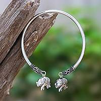 Sterling silver cuff bracelet, 'Two Elephants' - Sterling Silver Cuff Bracelet with Two Elephant Charms