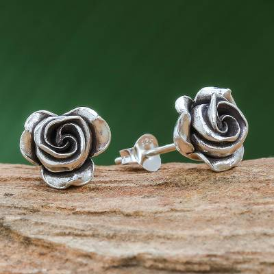 Silver stud earrings, First Rose
