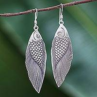 Silver dangle earrings, 'Karen Fish' - Thai Karen Hill Tribe Silver Fish Earrings