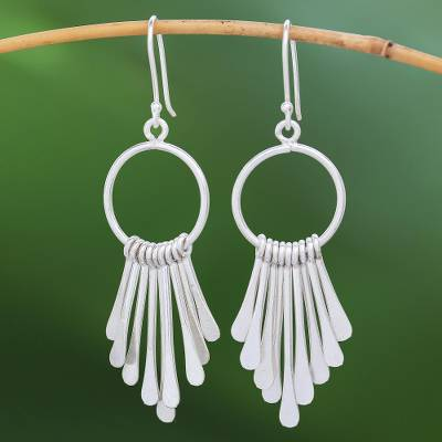 Silver waterfall earrings, 'Karen Cascade' - Handmade Karen Silver Waterfall Earrings from Thailand