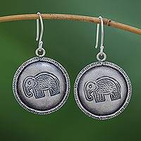 Silver dangle earrings, 'Elephant Portraits' - Elephant Stamp Karen Silver Dangle Earrings from Thailand