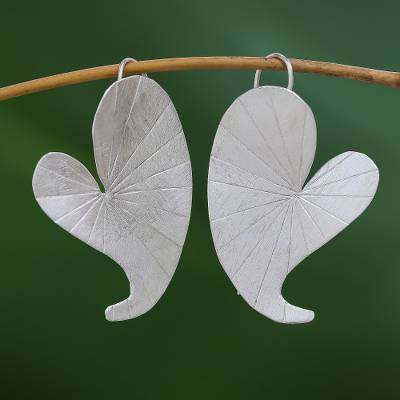 Silver drop earrings, 'Heart Lotus' - Heart-Shaped Lotus Leaf Karen Silver Drop Earrings