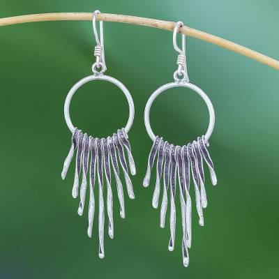 Silver waterfall earrings, 'Dark Cascade' - Combination-Finish Karen Silver Waterfall Earrings
