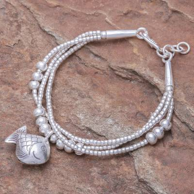 Silver beaded charm bracelet, 'Singing Karen Goldfish' - Thai Karen Hill Tribe Silver Goldfish Bracelet with a Bell
