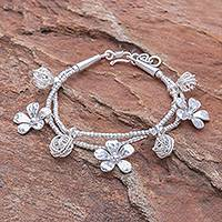 Silver beaded charm bracelet, 'Floral Forest' - Karen Silver Beaded Bracelet with Floral Charms