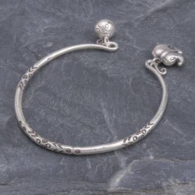 Sterling silver cuff bracelet, 'Song of the Mountains' - Thai Karen Hill Tribe Silver Cuff Elephant Bracelet