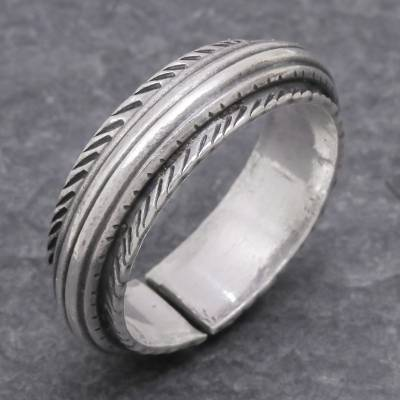 Sterling silver band ring, 'Gentle Flow' - Unisex Sterling Silver Band Ring from Thailand