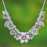 Sterling silver beaded pendant necklace, 'Nature's Miracle' - Sterling Silver Flower Motif Pendant Necklace from Thailand