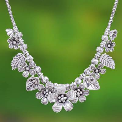 Sterling silver beaded necklace, 'Nature's Miracle' - Sterling Silver Flower Motif Pendant Necklace from Thailand