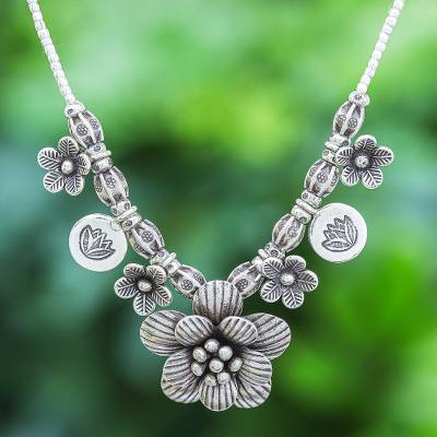 Sterling silver beaded pendant necklace, 'Garden in Bloom' - Hill Tribe Beaded Sterling Silver Flower Necklace