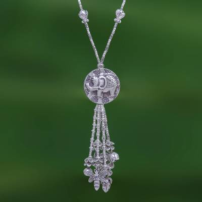Silver beaded long Y-necklace, 'Elephant Charm' - 950 Silver Elephant Charm Pendant Necklace