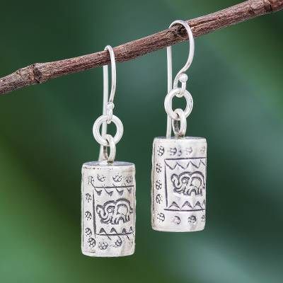 Silver dangle earrings, 'Walking Elephant' - Karen Hill Tribe Silver Elephant Motif Dangle Earrings