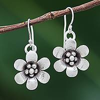 Silver dangle earrings, 'Delightful Daisy' - Karen Hill Tribe Silver Daisy Flower Dangle Earrings