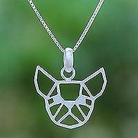 Sterling silver pendant necklace, 'Geometric Bulldog' - Geometric Bulldog Sterling Silver Pendant Necklace