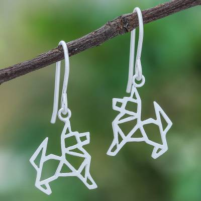 Sterling silver dangle earrings, 'Geometric German Shepherd' - Geometric German Shepherd Sterling Silver Dangle Earrings