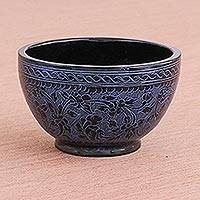 Lacquered wood decorative bowl, 'Blue Floral Forest' - Handcrafted Blue and Black Lacquered Bowl from Thailand