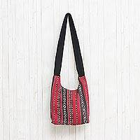 Cotton blend shoulder bag, 'Woven Cheer' - Red Black and White Handwoven Cotton Blend Shoulder Bag