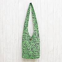 Cotton shoulder bag, 'Pretty Tendrils' - Spring Green Floral and Vine Motif 100% Cotton Shoulder Bag