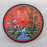 Handpainted cotton parasol, 'Cranes at Sunset' - Unique Hand Painted Crane Motif Cotton Parasol