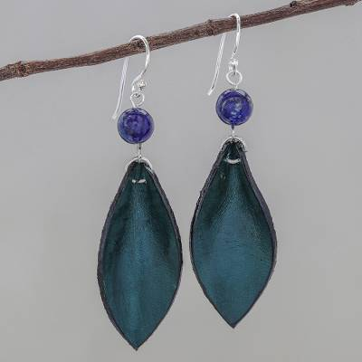 Lapis lazuli and leather dangle earrings, 'Supple Petals in Teal' - Blue-Green Leather and Lapis Lazuli Earrings