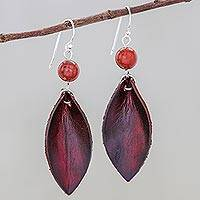 Jasper and leather dangle earrings, 'Supple Petals in Red' - Artisan Crafted Earrings with Leather and Jasper Beads