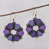 Hand-knotted dangle earrings, 'Dreamy Delight in Purple' - Hand-Knotted Dangle Earrings in Purple from Thailand