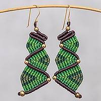 Hand-knotted dangle earrings, 'Zigzag Dream in Green' - Zigzag Pattern Hand-Knotted Dangle Earrings in Green
