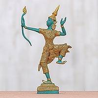 Brass sculpture, 'Green Rama, the Archer' - Intricate Brass Sculpture of Lord Rama in Green and Black
