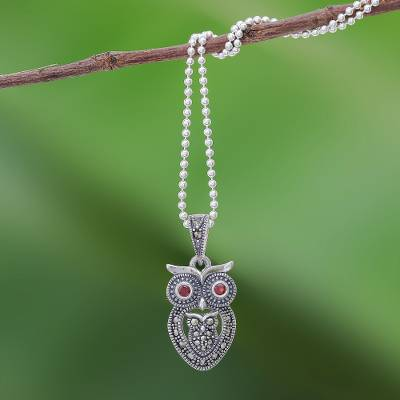 Garnet and marcasite pendant necklace, 'Mother Owl with Owlet' - Sterling Silver Owl Necklace with Garnet and Marcasite