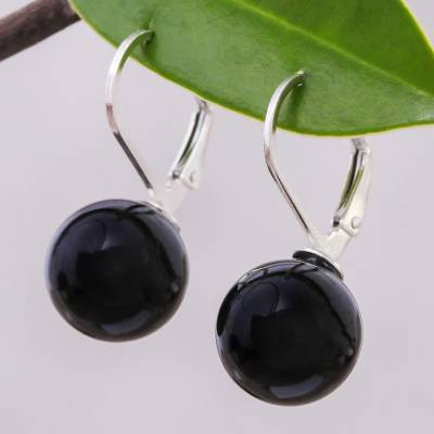 Calcite drop earrings, 'Pure Black' - Black Calcite and Sterling Silver Earrings from Thailand