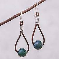 Agate and leather dangle earrings, 'Karen Culture' - Hill Tribe Green Agate and Leather Dangle Earrings