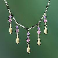 Gold plated amethyst and tourmaline waterfall necklace, 'Aria' - Tourmaline and Amethyst Pendant Waterfall Necklace