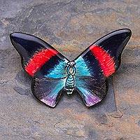 Ceramic brooch pin, 'Morning Flight' - Colorful Handmade Ceramic Butterfly Brooch Pin