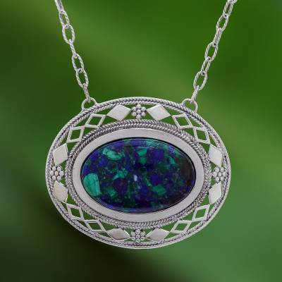 Azure malachite pendant necklace, 'Infinite Sea' - Thai Handcrafted Azure Malachite and Silver Necklace