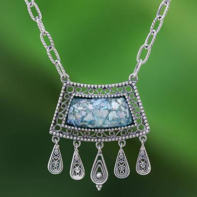 Roman glass pendant necklace, 'Ancient Whisper' - Roman Glass and Silver Necklace Handcrafted in Thailand