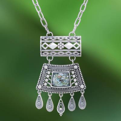 Roman glass pendant necklace, 'Ancient Dance' - Silver Necklace with Roman Glass Handmade in Thailand