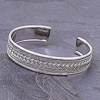 Sterling silver cuff bracelet, 'Karen Plaits' - Braid and Rope Motif Sterling Silver Cuff Bracelet