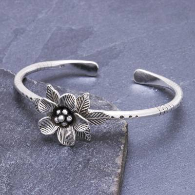 Sterling silver cuff bracelet, Winter Flower