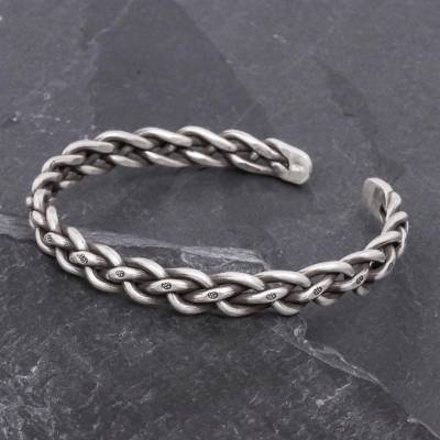 Sterling silver cuff bracelet, 'Stepping Stones' - Braided Sterling Silver Cuff Bracelet from Thailand
